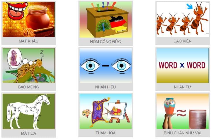 Đáp án đuổi hình bắt chữ, có hình minh họa